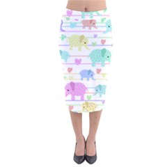 Elephant pastel pattern Velvet Midi Pencil Skirt