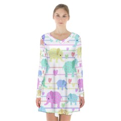 Elephant pastel pattern Long Sleeve Velvet V-neck Dress