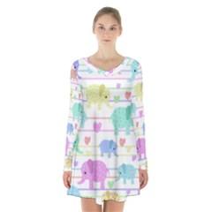 Elephant pastel pattern Long Sleeve Velvet V-neck Dress