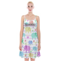 Elephant pastel pattern Spaghetti Strap Velvet Dress