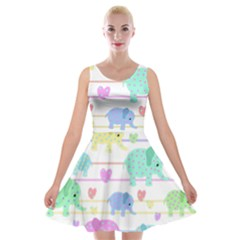 Elephant pastel pattern Velvet Skater Dress