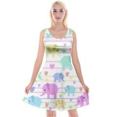 Elephant pastel pattern Reversible Velvet Sleeveless Dress