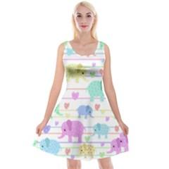 Elephant pastel pattern Reversible Velvet Sleeveless Dress
