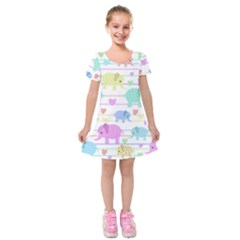 Elephant pastel pattern Kids  Short Sleeve Velvet Dress