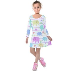 Elephant pastel pattern Kids  Long Sleeve Velvet Dress