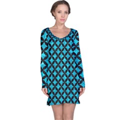 Circles3 Black Marble & Turquoise Marble (r) Long Sleeve Nightdress