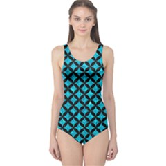 Circles3 Black Marble & Turquoise Marble (r) One Piece Swimsuit