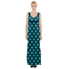 Circles3 Black Marble & Turquoise Marble (r) Maxi Thigh Split Dress