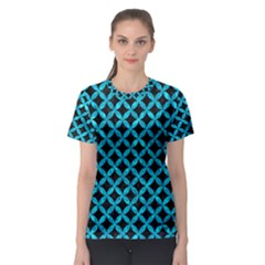 Circles3 Black Marble & Turquoise Marble Women s Sport Mesh Tee