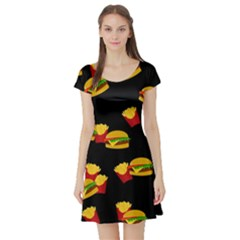 Hamburgers and french fries pattern Short Sleeve Skater Dress
