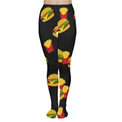 Hamburgers and french fries pattern Women s Tights