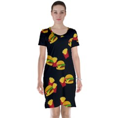 Hamburgers and french fries pattern Short Sleeve Nightdress