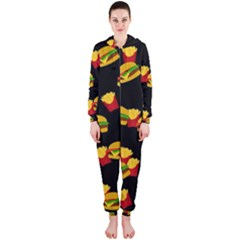 Hamburgers and french fries pattern Hooded Jumpsuit (Ladies)