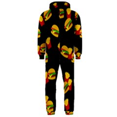 Hamburgers and french fries pattern Hooded Jumpsuit (Men)