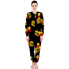 Hamburgers and french fries pattern OnePiece Jumpsuit (Ladies)