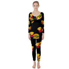 Hamburgers and french fries pattern Long Sleeve Catsuit