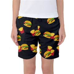Hamburgers and french fries pattern Women s Basketball Shorts