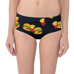 Hamburgers and french fries pattern Mid-Waist Bikini Bottoms