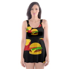 Hamburgers and french fries pattern Skater Dress Swimsuit
