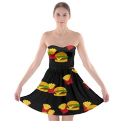 Hamburgers and french fries pattern Strapless Bra Top Dress