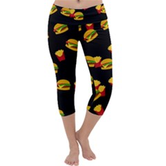 Hamburgers and french fries pattern Capri Yoga Leggings