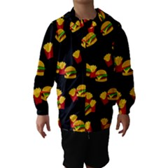 Hamburgers and french fries pattern Hooded Wind Breaker (Kids)