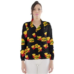 Hamburgers and french fries pattern Wind Breaker (Women)