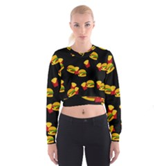 Hamburgers and french fries pattern Women s Cropped Sweatshirt