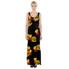 Hamburgers and french fries pattern Maxi Thigh Split Dress