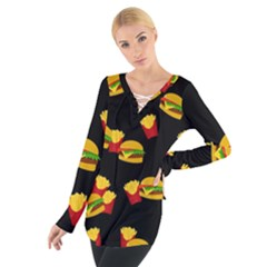 Hamburgers and french fries pattern Women s Tie Up Tee