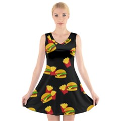 Hamburgers and french fries pattern V-Neck Sleeveless Skater Dress