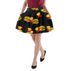 Hamburgers and french fries pattern A-Line Pocket Skirt
