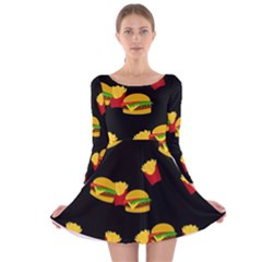 Hamburgers and french fries pattern Long Sleeve Velvet Skater Dress