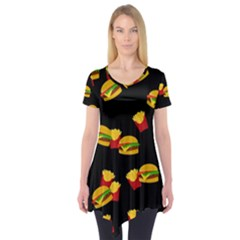 Hamburgers and french fries pattern Short Sleeve Tunic