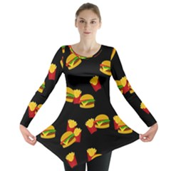 Hamburgers and french fries pattern Long Sleeve Tunic