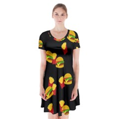 Hamburgers and french fries pattern Short Sleeve V-neck Flare Dress