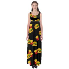 Hamburgers and french fries pattern Empire Waist Maxi Dress