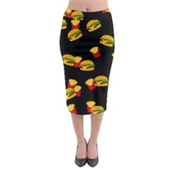 Hamburgers and french fries pattern Midi Pencil Skirt