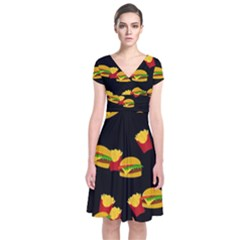 Hamburgers and french fries pattern Short Sleeve Front Wrap Dress