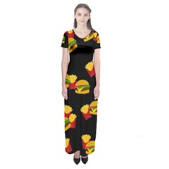 Hamburgers and french fries pattern Short Sleeve Maxi Dress