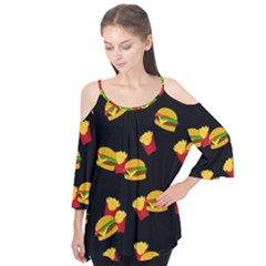 Hamburgers and french fries pattern Flutter Tees