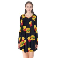 Hamburgers and french fries pattern Flare Dress
