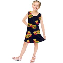 Hamburgers and french fries pattern Kids  Tunic Dress
