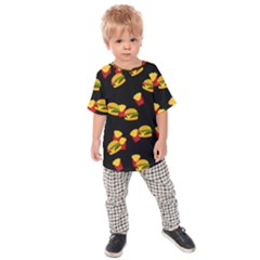 Hamburgers and french fries pattern Kids  Raglan Tee