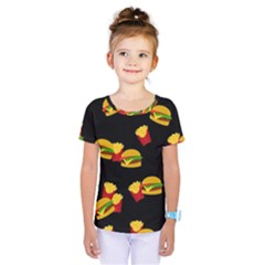 Hamburgers and french fries pattern Kids  One Piece Tee