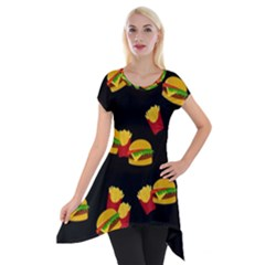 Hamburgers and french fries pattern Short Sleeve Side Drop Tunic