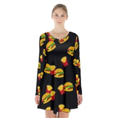 Hamburgers and french fries pattern Long Sleeve Velvet V-neck Dress