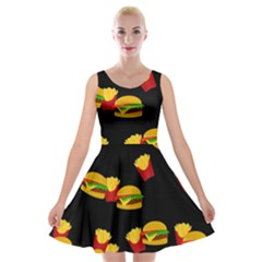 Hamburgers and french fries pattern Velvet Skater Dress
