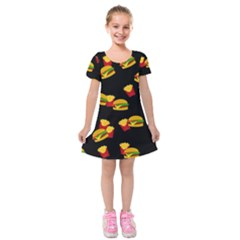 Hamburgers and french fries pattern Kids  Short Sleeve Velvet Dress