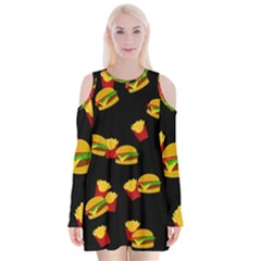 Hamburgers and french fries pattern Velvet Long Sleeve Shoulder Cutout Dress